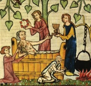 medieval-tub-bath-in-garden